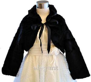 Black-Children-Kids-Flower-Girls-Faux-Fur-Wedding-Wrap-Jacket-Party-Coat-1-9-Yrs