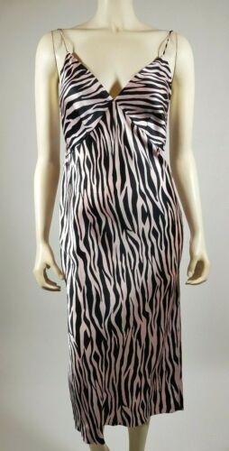 OLIVIA VON HALLE Pink Black Zebra Silk ISSA Nightg