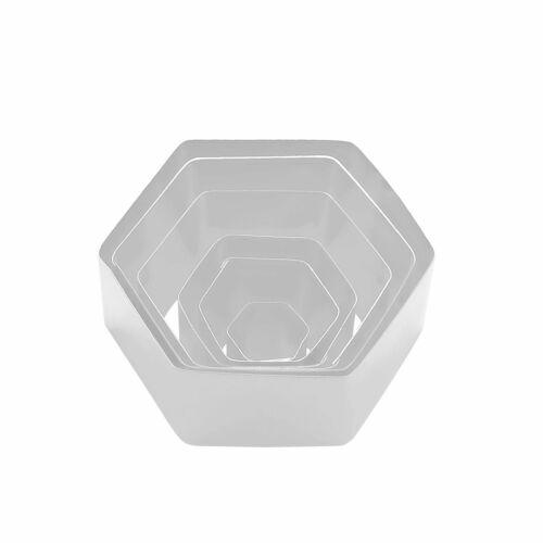 """Hexagon Shape Steel Cookie Cake Fondant Cutter 1/"""" deep set of 6"""