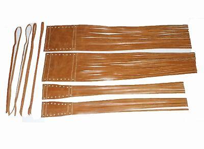 Indian Chief Handlebar Grip Cover Fringe Tassel Genuine Tan Leather