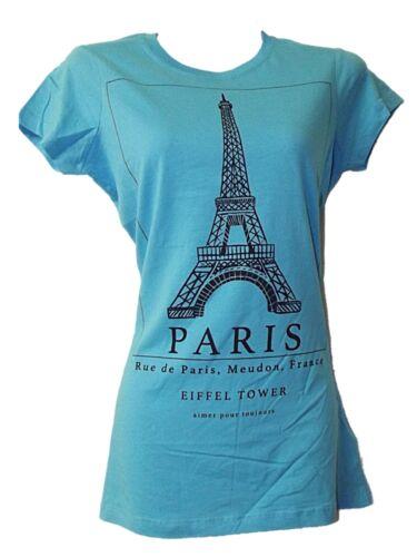 NEW EX HIGH STREET LADIES GIRLS PARIS EIFFEL TOWER T SHIRT TOP SZ 6-12 4 COLOURS