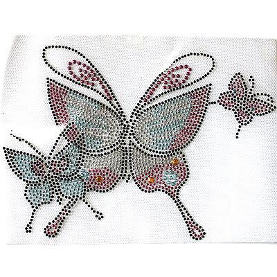 Rhinestone Iron on Transfer Hot fix Motif crystal Fashion Design Pink Butterfly