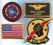 RON SLIDER KERNER TOP GUN MOVIE US NAVY F-14 SQUADRON MOVIE COSTUME PATCH SET