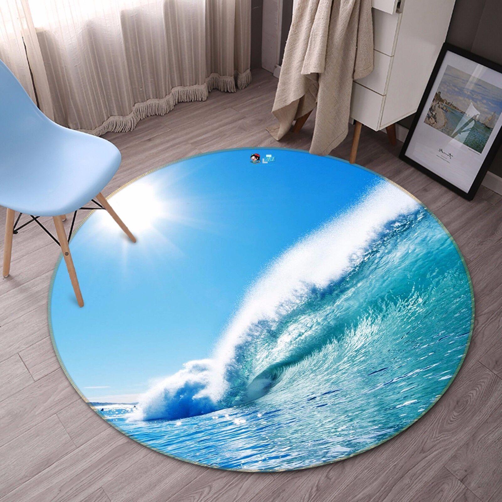 3D Sun Sea Waves 46 Non Slip Rug Mat Room Mat Round Quality Elegant Photo Carpet