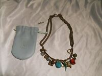 Vintage Ross Simons Charm Necklace With 15 Charms , Silver, Jade Precious Stones