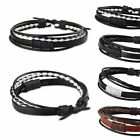 New Fashion Leather Wrap Braided Wristband Cuff Punk Men Women Bracelet Bangle