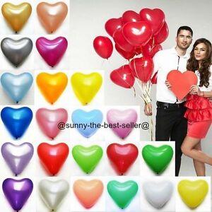 10-100-Forme-Coeur-Ballons-ballons-a-l-039-helium-Pour-Mariage-Fete-Anniversaire