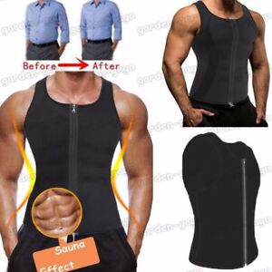 8da5a2024e4a8 US Mens Shaper Corset Sweat Vest Body Control Sauna Zipper Waist ...