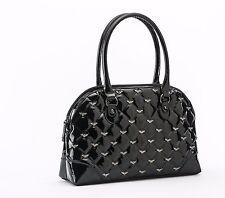 Rock Rebel GG Rose Mina Quilted Handbag with Bats Black Glitter Goth Purse Bag