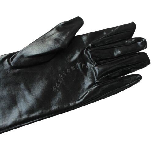 Womens Leather Black Mitten Evening Party Opera Wedding Ove Elbow Long Gloves