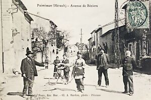 CPA-34-PUIMISSON-ANIMEE-AVENUE-DE-BEZIERS-A-BARDOU-PHOTO