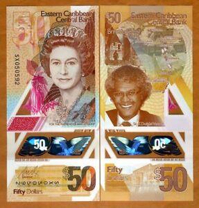 Eastern-East-Caribbean-50-ND-2019-P-New-Vertical-Polymer-QEII-UNC