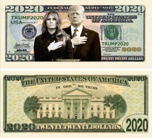 Ten President and First Lady Trump 2020 Dollar Bill Play Funny Money MAGA KAG