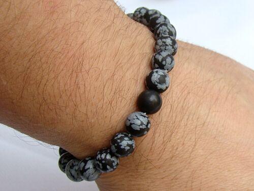 Brazalete Elástico para Hombre 8 mm Obsidiana Copo De Nieve Piedras Preciosas Perlas Mate Esmerilado