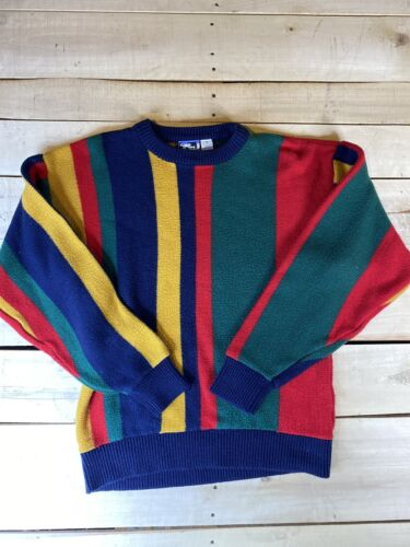 Vintage 1980s New Old Stock Abstract Geometric Red Green Blue Sweater size Small S Medium M