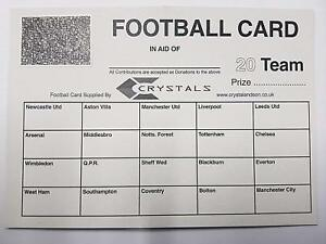 Details about 100X 20 Team football scratch cards UK team names FUNDRAISING  IDEAS