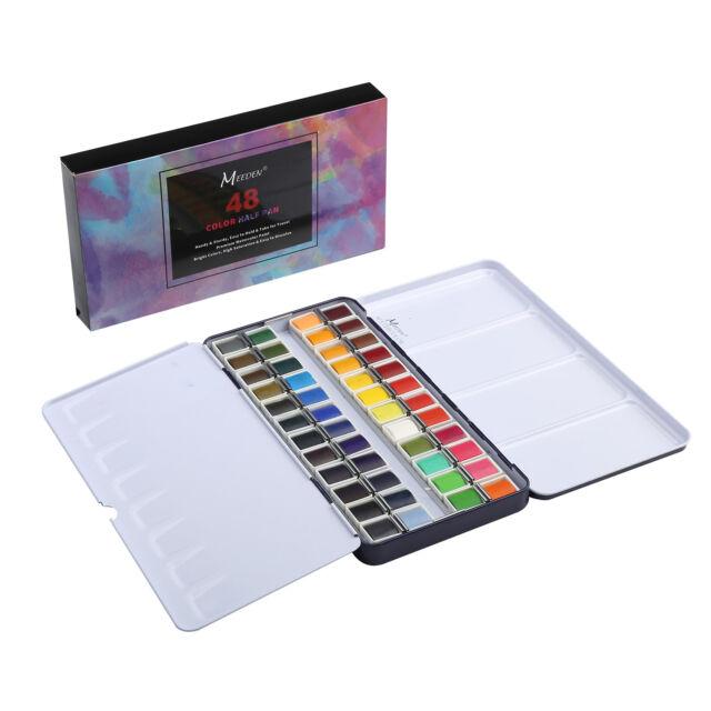 1 MEEDEN Art Watercolor Tin Palette Paint Set with 48 Colors Half Pan Paints NEW