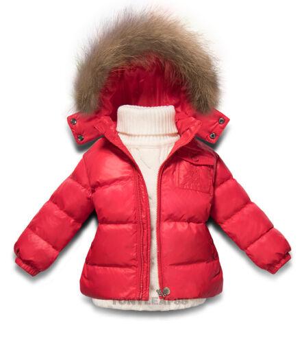 Kids Toddler Boys Girls Puffer 90/% Duck Down Fur Hooded Outwear Ski Jacket Coat