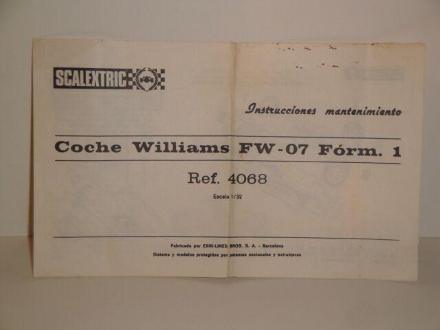 INSTRUCCIONES DE MANTENIMIENTO WILLIAMS FW 07 SCALEXTRIC