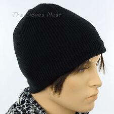 URBAN PIPELINE Men's BLACK BEANIE HAT with WHITE Faux FUR Lining WINTER CAP