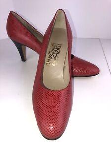 Salvatore-Ferragamo-Wmn-s-Size-9-Red-Lizard-Heels-Dress-Pump-Shoe-Italy-Nice