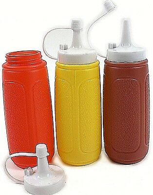 3 Widemouth Squeeze Sauce Bottle Dispenser Mayo Ketchup Mustard Brown Condiment
