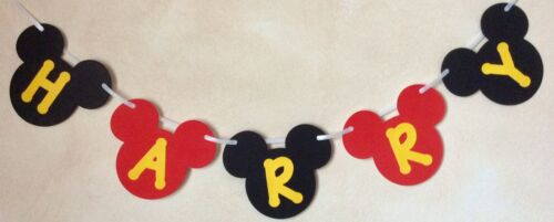 ANY NAME  5 LETTERS MICKEY MOUSE PERSONALISED BIRTHDAY BANNER