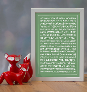 Al Green /'Let/'s Stay Together/' Personalised Favourite Song Lyrics Framed Print
