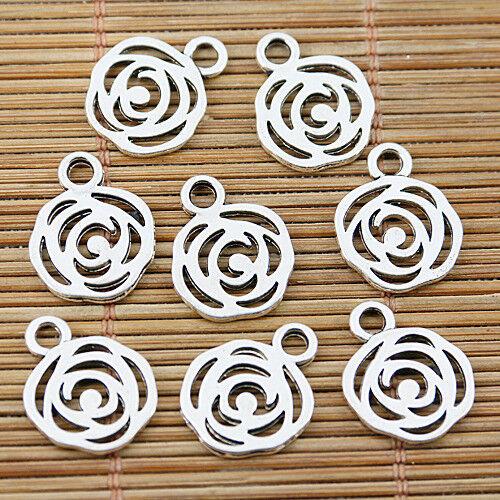 60pcs Tibetan Silver Tone 13 mm Hollow Flower Design Charms EF1574