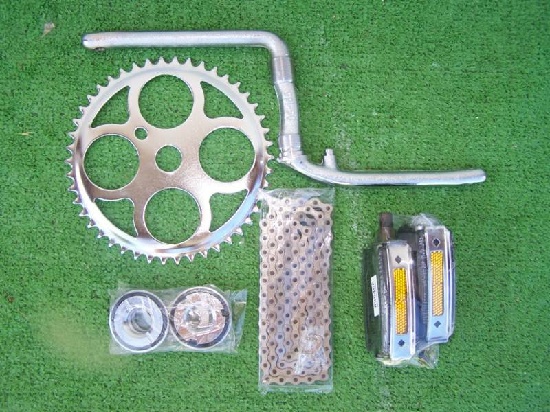 BIKE BICYCLE CRANK  SET 5 ITEMS FOR ATB   CRUISER W ITH 1 PIECE CRANK  up to 50% off
