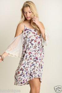 Cold-Shoulder-Lace-Sleeves-Dress-BOHO-8-10-12-14-16-FLoral-Off-White-Embroidered
