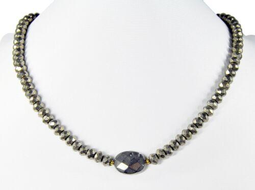 Wunderschöne Edelsteinkette aus Pyrit in facettierter Radform