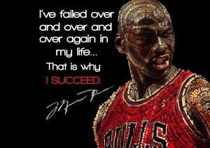 Details About Michael Jordan Success Inspire Quote Basketball A3 Art Print Poster Yf5350