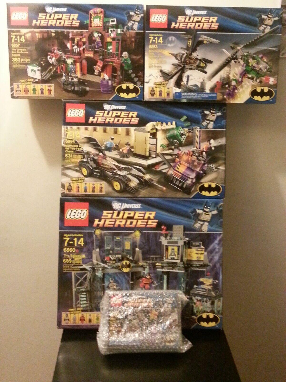 LEGO Super Heroes 5 Set Bundle BATMAN Batcave Batmobile Catcycle Riddler Twoface