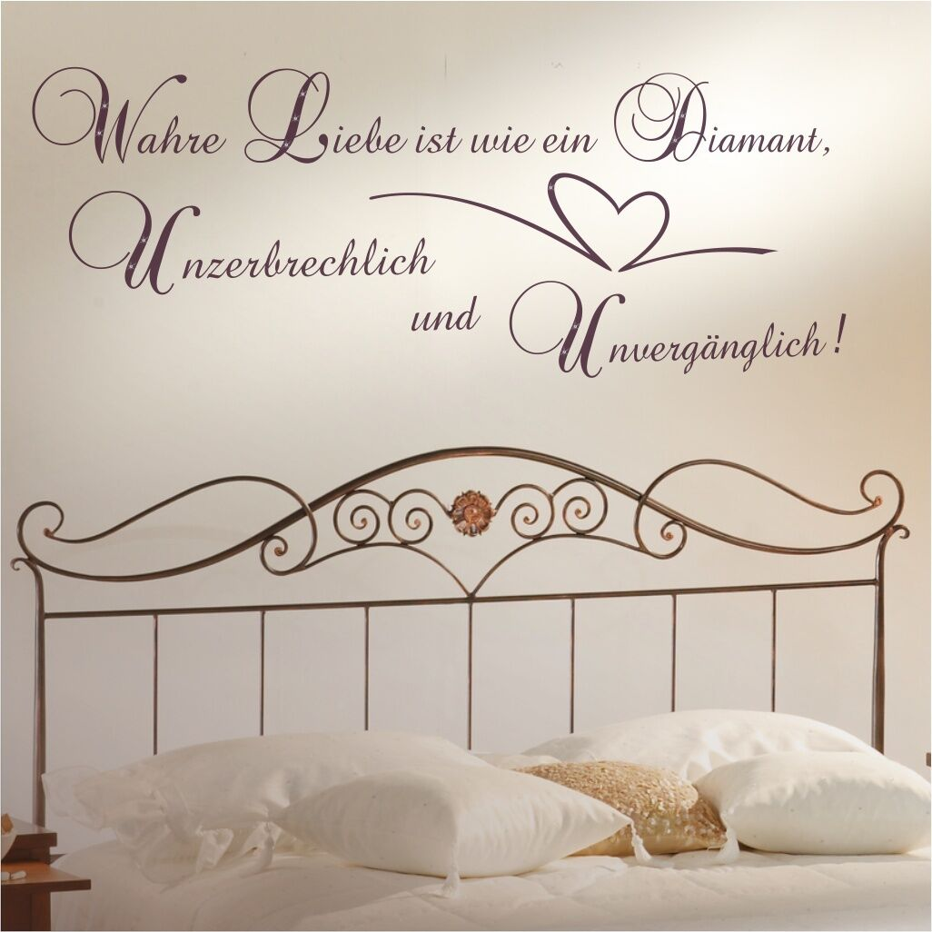 wandtattoo spruch wandspruch wahre liebe swarovski wohnzimmer schlafzimmer zit13 ebay. Black Bedroom Furniture Sets. Home Design Ideas