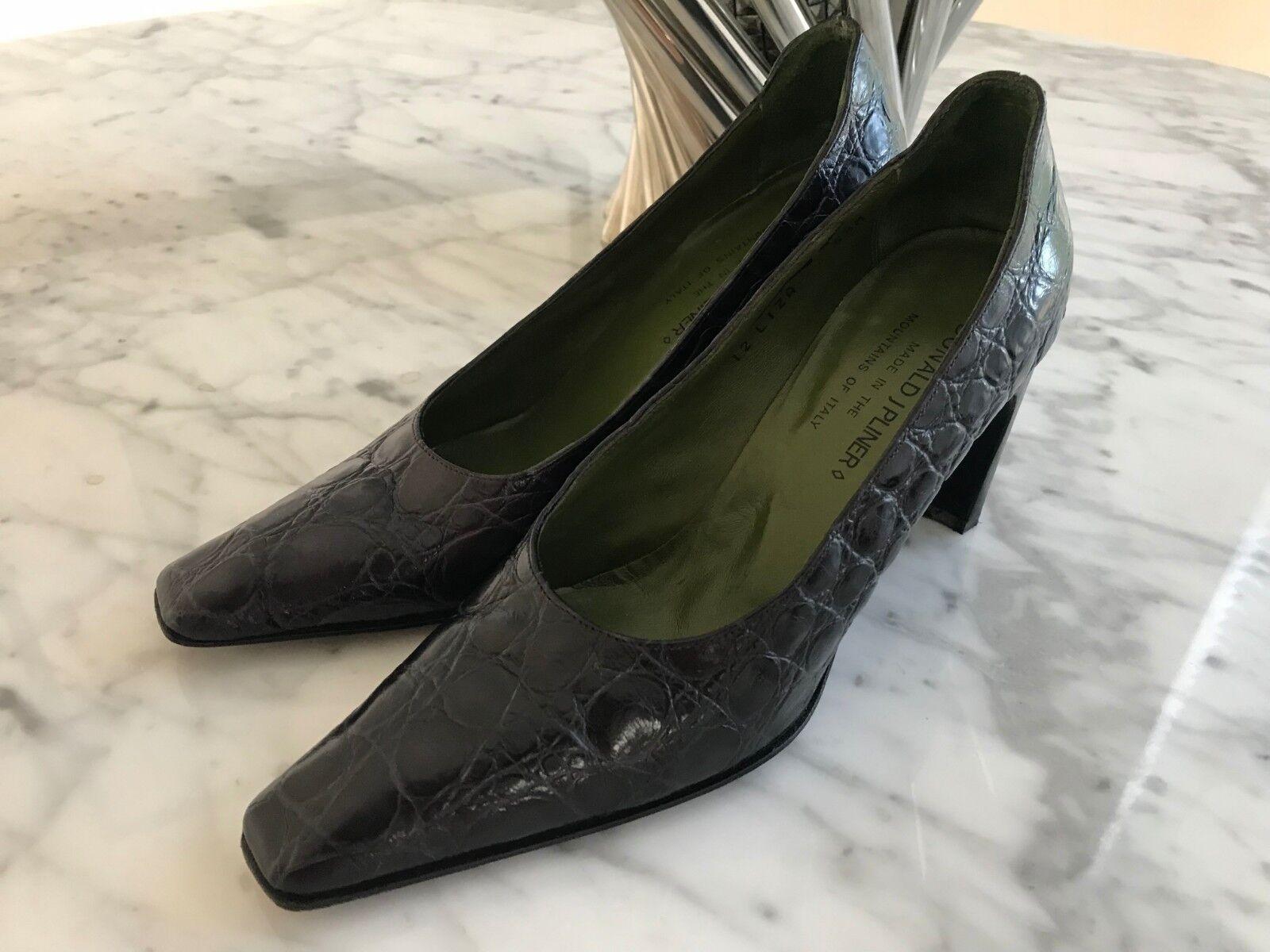 damen's Donald J Pliner Couture Couture Couture lila Leather Alligator Pumps 5.5 M. Excellent 027694