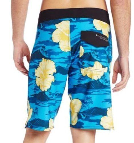 NEW BILLABONG swim board shorts  bluee yellow floral PX3 stretch 30 32 34 36