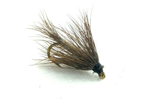 3 HARES Ear DRY Flies GRHE Gold Ribbed EMERGER Trout Fly Fishing Size 10,12