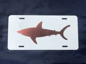 Solid-034-Cool-Copper-034-Shark-Profile-on-Aluminum-License-Plate