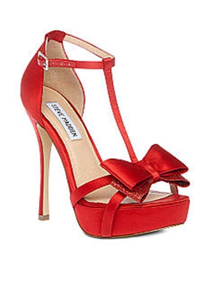 Zapatos para mujer Steve Madden Holly Holly Holly T-Strap Sandalias De Plataforma Tacones De Tela De Satén Rojo  nuevo sádico