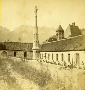 France-Grande-Chartreuse-Cemetery-Old-Stereo-Photo-Muzet-amp-Joguet-1870