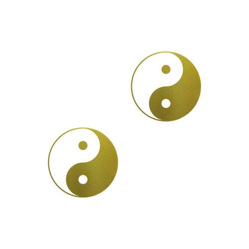 2 Aufkleber 10cm Yin /& Yang gold Tattoo Taiji Symbol Deko Auto Fenster Folie