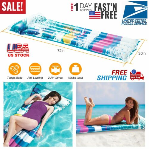 Swimming Inflatable Floating Float Water Hammock Pool Lounge Bed Chair Summer US