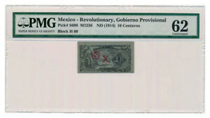 MEXICO-REVOLUTIONARY-ISSUE-banknote-10-CENTAVOS-1914-PMG-MS-62