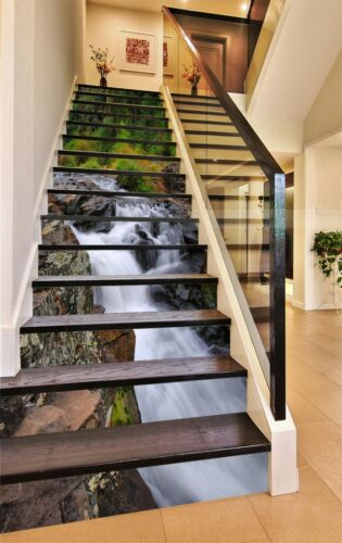 Details about  /3D Waterfall Rocks ZHU88 Stair Risers Decoration Photo Mural Vinyl Wallpaper Amy