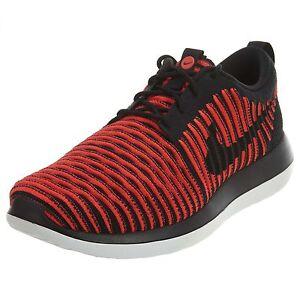 New Nike Roshe Two Flyknit Men's Running Training Shoes Black Crimson 844833 006