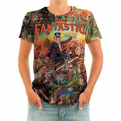 Born2Rock Elton John T-Shirt Glam Rock 1970/'s Music CAPTAIN FANTASTIC