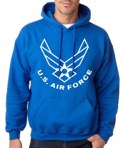 AIR FORCE LOGO BLUE HOODIE Airforce Hooded Sweatshirt U.S Logo Pullover USAF