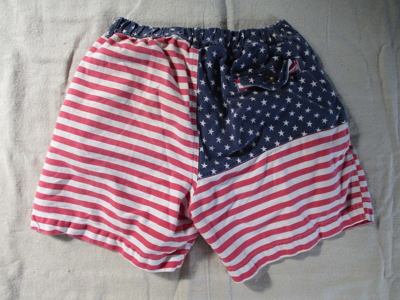 Chubbies American flag stars stripes 'Mericas elastic waist shorts medium