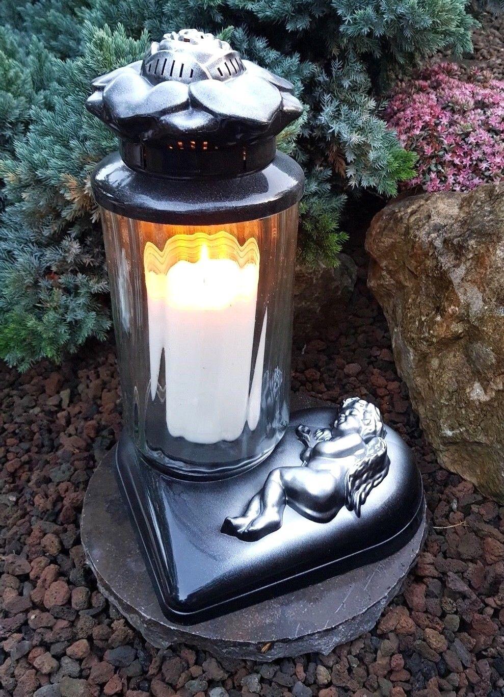 Silber - Grablaterne Grablampe GraBlauchte  Grablicht Kerze Kerze Kerze Engel Grabstein | Elegant  a14cf4